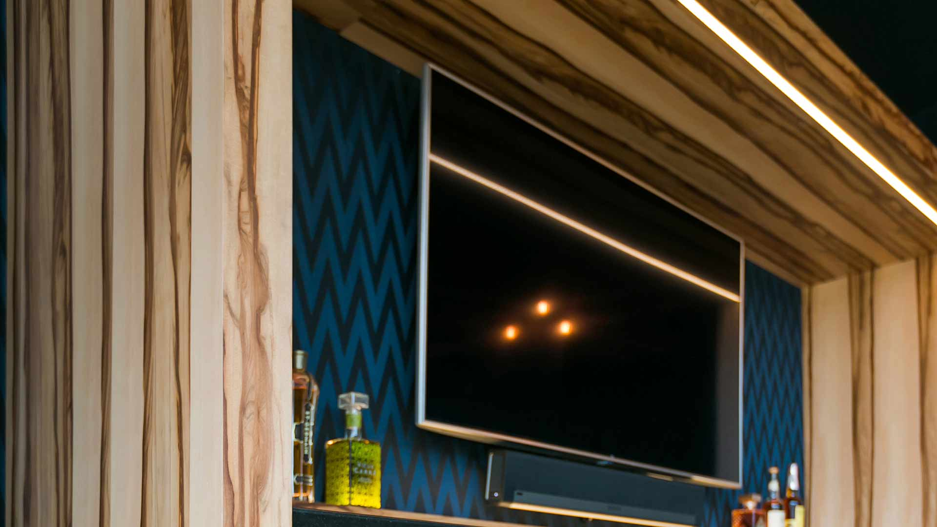 Cabinet Detail - humidor, beverage coolers, wide screen TV - Midcentury Modern Addition (Cigar Room) - Brendonwood, Indianapolis