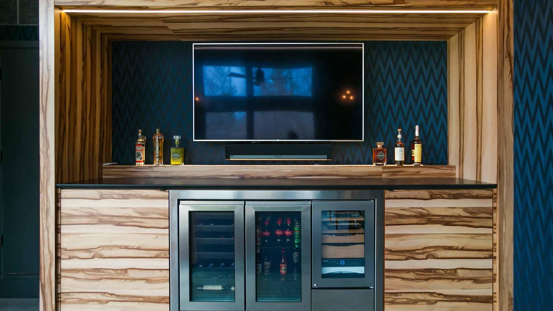 Cabinet Elevation - humidor, beverage coolers, wide screen TV - Midcentury Modern Addition (Cigar Room) - Brendonwood, Indianapolis