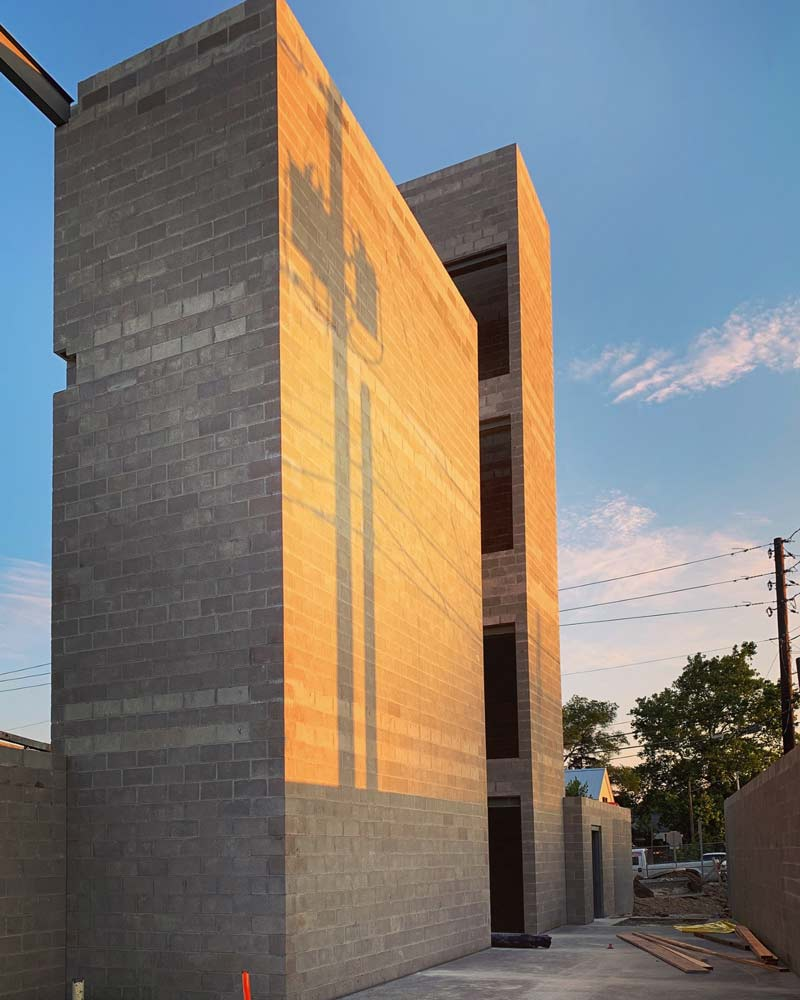 CMU Stair + Elevator Tower (sunrise) - G BLOC MIXED USE Development - Broad Ripple North Village - Urban Infill - Indianapolis