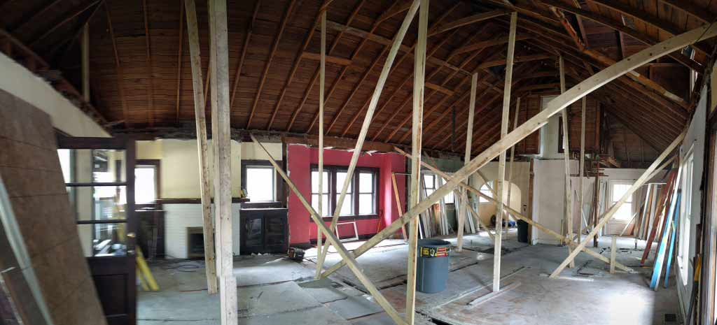 Broad Ripple Craftsman Renovation – In order to keep 'weathered in' the framing contractor kept the roof intact until the end of the demolition. This allowed for dust/debris control as well as keeping the interior floors safe from any weather - Modern Craftsman Renovation - Indianapolis, IN