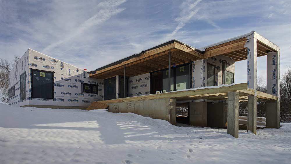 First Winter Snow + Framing Progress (November 2019) - Back40House - Pendleton, IN