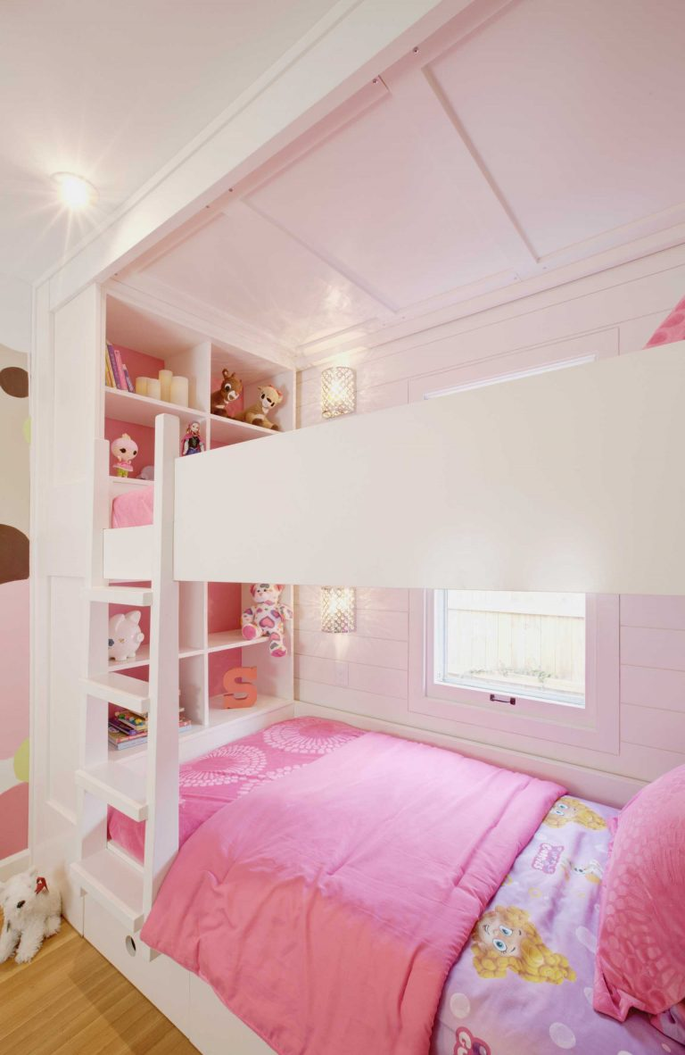 New custom bunk beds include cubbies for display - Classic Irvington Tudor Remodel - Indianapolis, IN