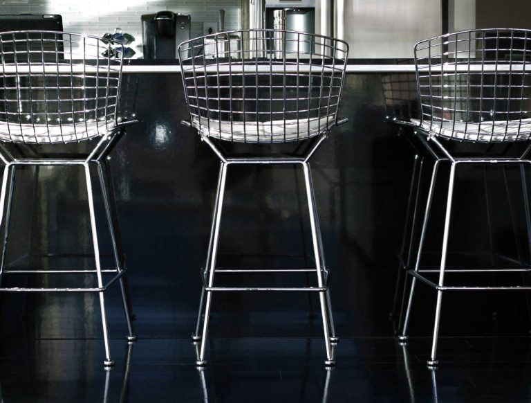 New furnishings (Bertoia Bar Chairs) - Industrial Modern Interior (Allen Plaza) - Downtown Indianapolis