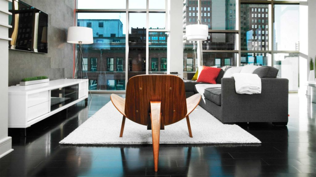 Living Room includes new roller blinds and furnishings - Industrial Modern Interior (Allen Plaza) - Downtown Indianapolis
