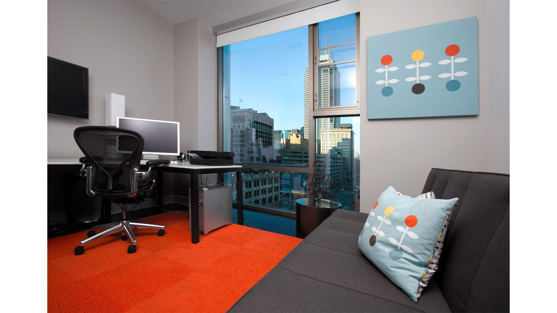 New Home Office Furnishings with downtown views - Industrial Modern Interior (Allen Plaza) - Downtown Indianapolis