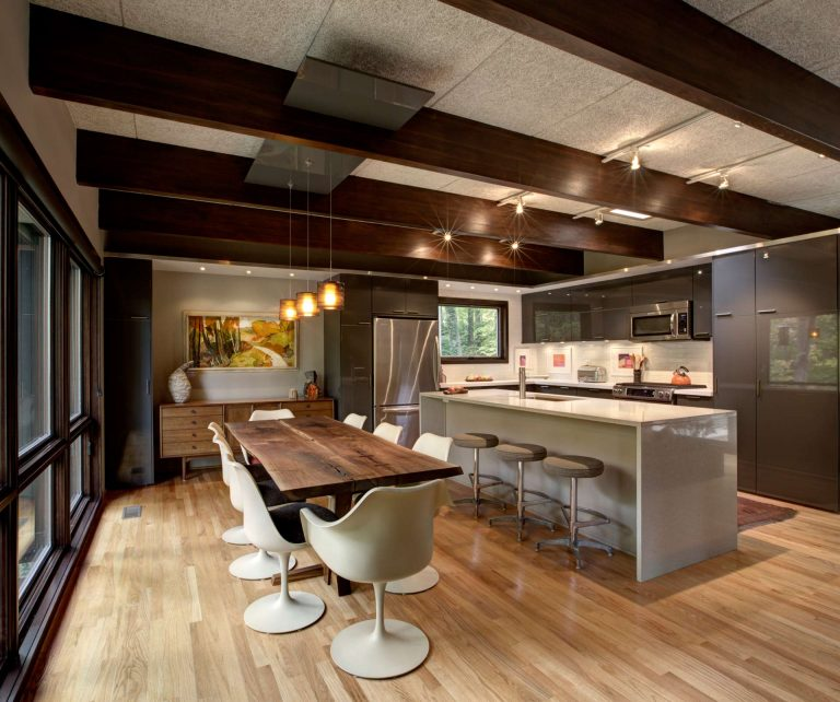 New kitchen renovation includes new IKEA cabinets integrated creatively into the architecture - Midcentury Modern Kitchen Renovation - Indianapolis, IN