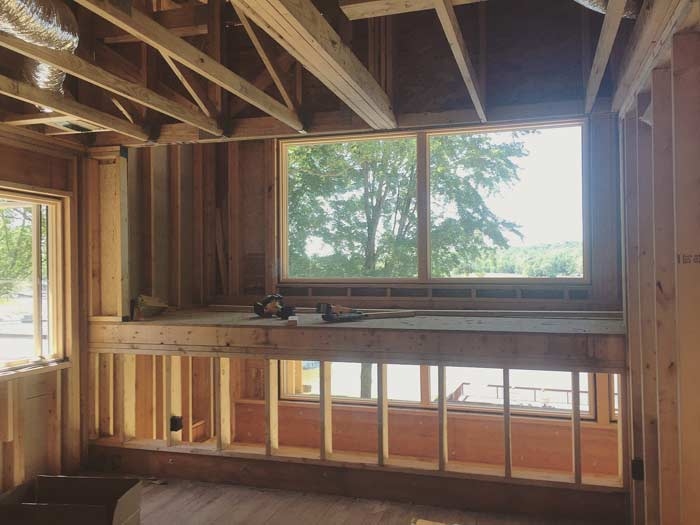 Upstairs loft overlooking Lake Lemon is one of the favorite features of the project. With loft bunks, the lakehouse will sleep 14 people in beds (wow!) - Lakeside Modern Cottage (H-LODGE) - Unionville, Indiana, Lake Lemon
