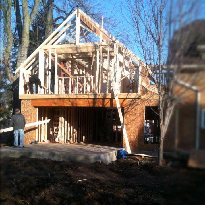 Stick Framing New Addition - Master Suite, Family Room - Garage - Butler Tarkington Modern Tudor - Indianapolis