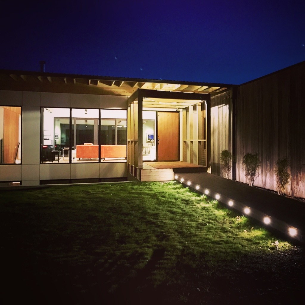 Night view of main entry bridge with LED lighitng - New Modern House 1 (Copperwood) - Zionsville, Indiana