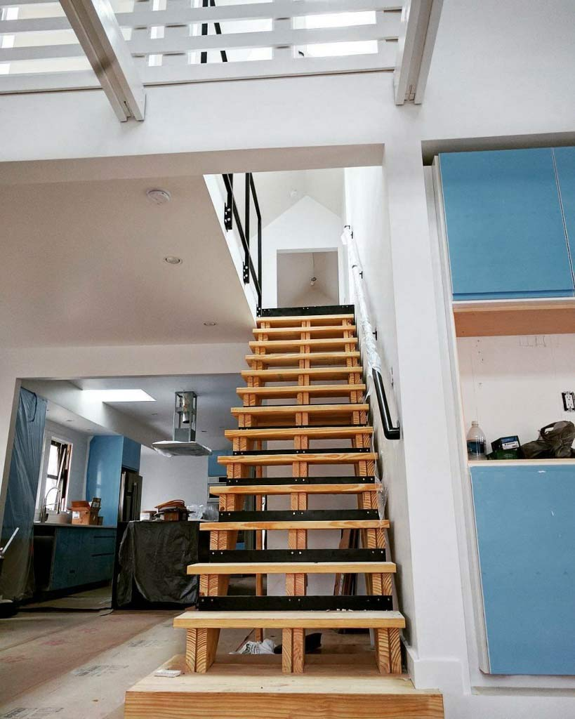 Architectural Stair Nears Completion - Broad Ripple Modern Craftsman Dwelling on Carrollton Avenue - Indianapolis