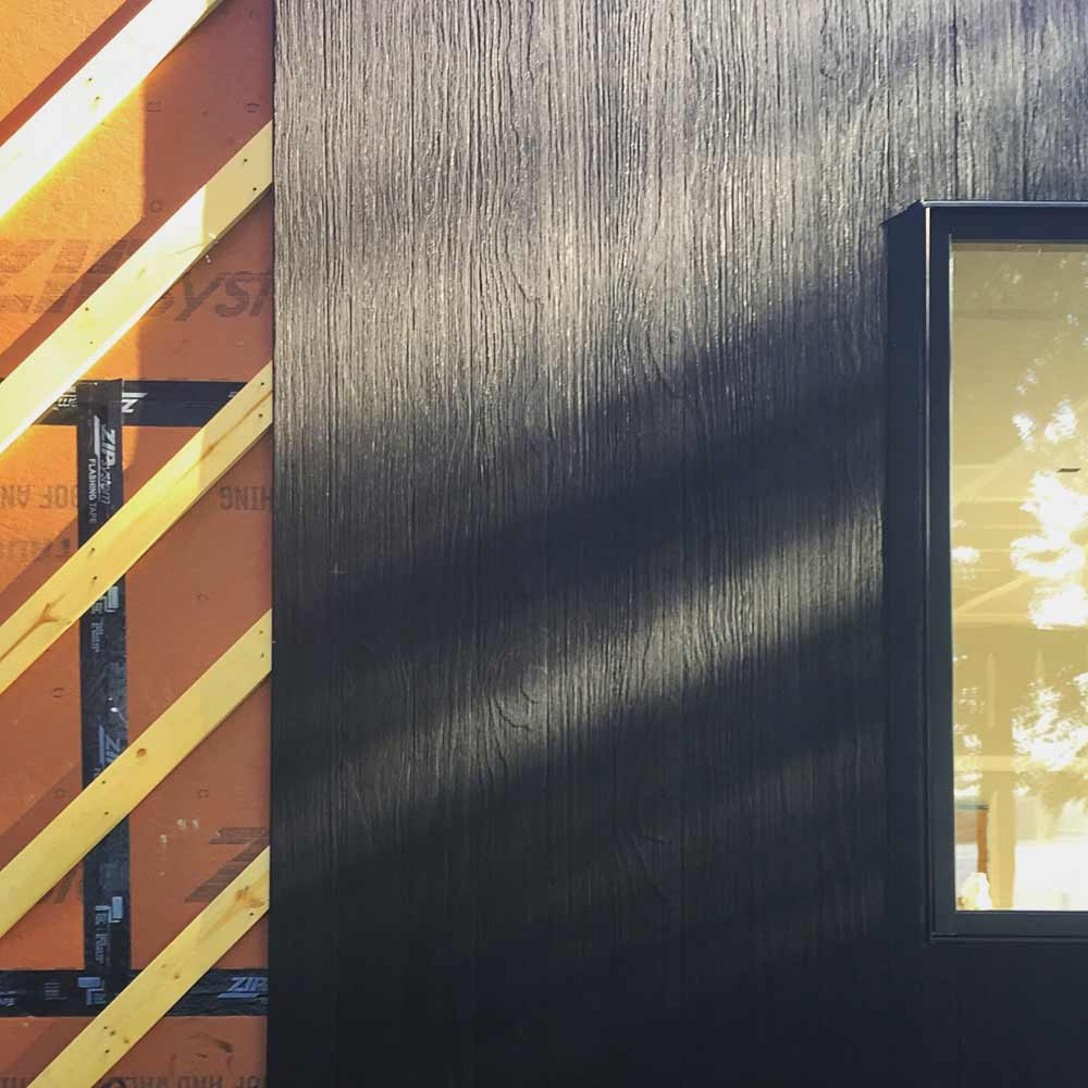 Everybody likes charred wood siding (shou sugi ban) with rainscreen channels for drainage (Delta Millworks). Well, not everybody ... some think it's too dark or too expensive, haha - Lakeside Modern Cottage (H-LODGE) - Unionville, Indiana, Lake Lemon