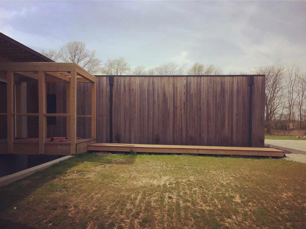 Bridge + Garage Exterior East Elevation - New Modern House 1 (Copperwood) - Zionsville