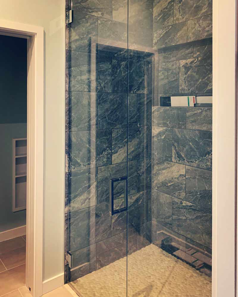 New master shower details and finish progress - Lakeside Modern Cottage (H-LODGE) - Unionville, Indiana, Lake Lemon