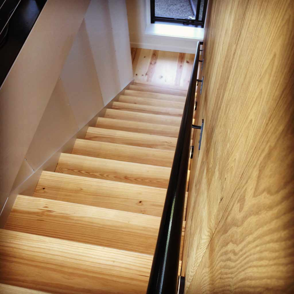 Architectural Stair built with Pine, Steel, Acrylic - New Modern House 1 (Copperwood) - Zionsville