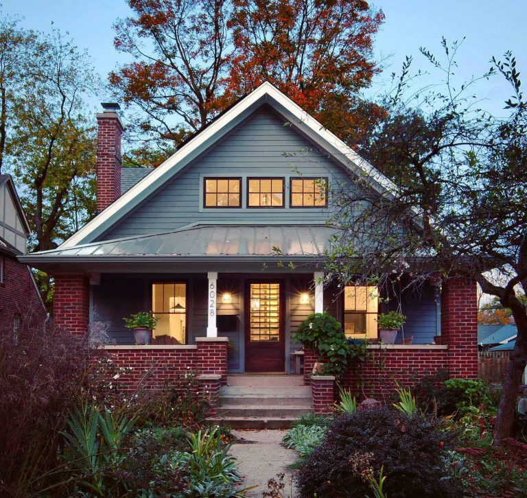 Front elevation exudes Craftsman charm with new 5V Crimp metal front porch roof, brick columns, and clerestory windows - Broad Ripple Modern Craftsman Dwelling on Carrollton Avenue - Indianapolis, Indiana