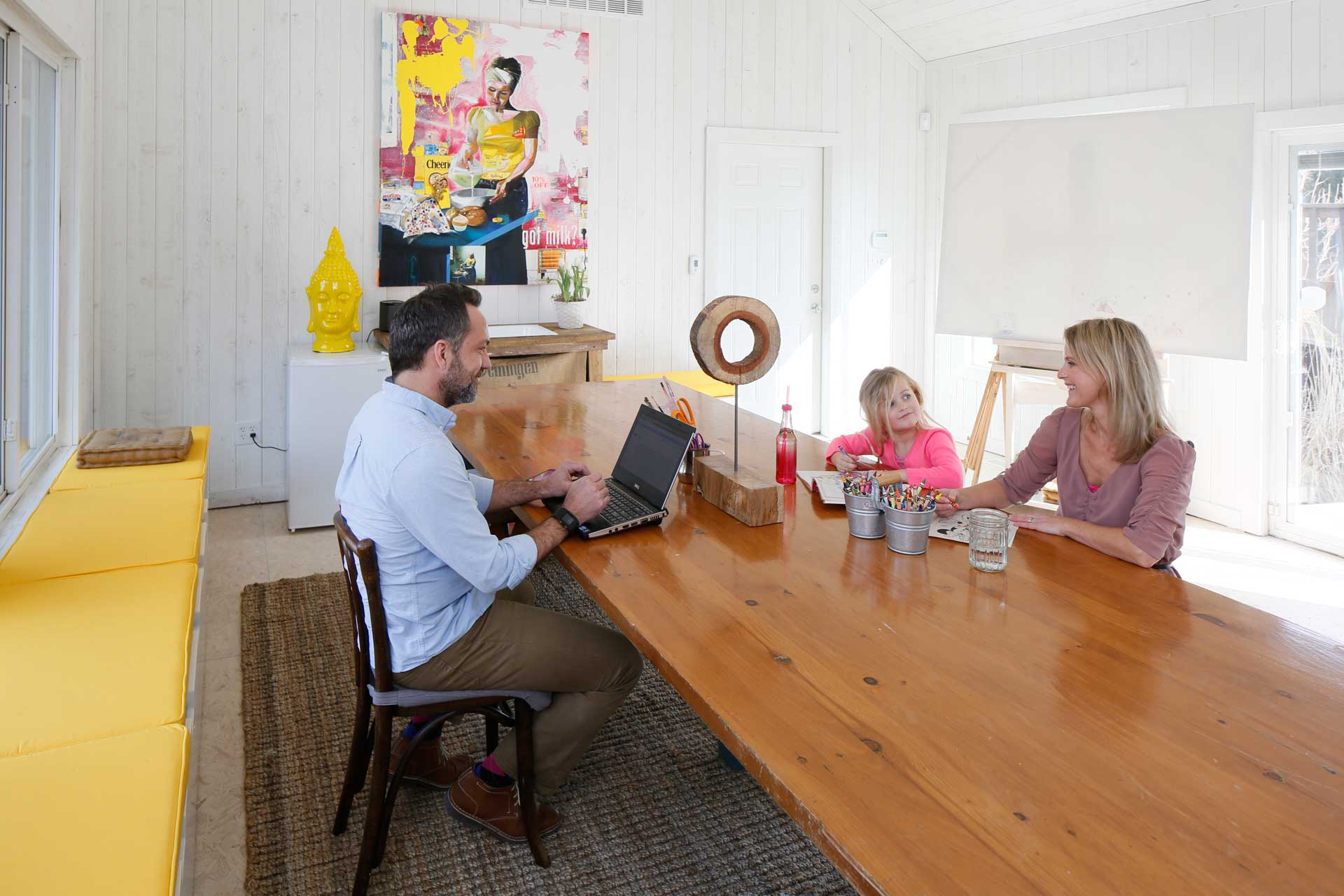 Connector between original house and garage serves as a light-filled family creative space - Broad Ripple Bungalow Phase 1 - Indianapolis, IN - Indianapolis Monthly - Photo by Anthony Valainis