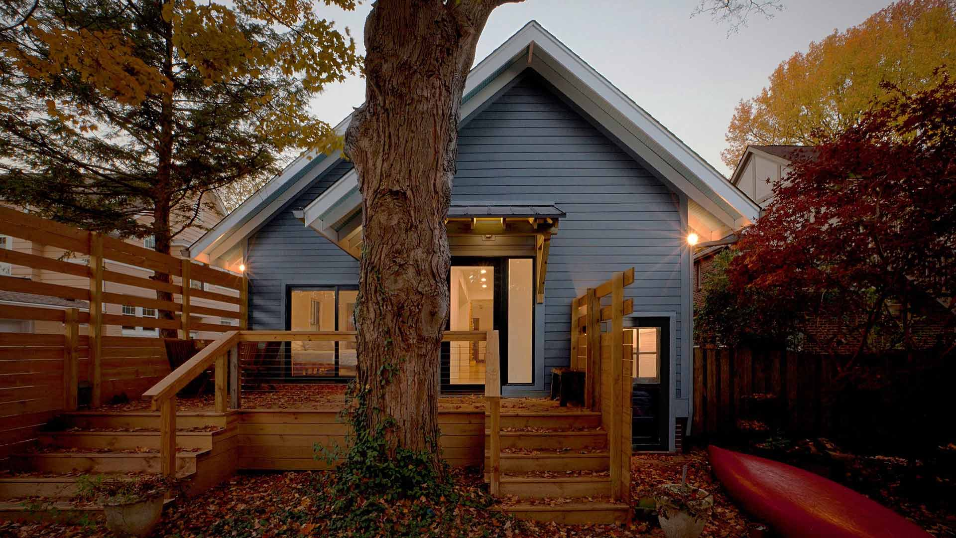 Rear Elevation incorporates giant tree (red canoe) - Broad Ripple Modern Craftsman Dwelling on Carrollton Avenue - Indianapolis, Indiana