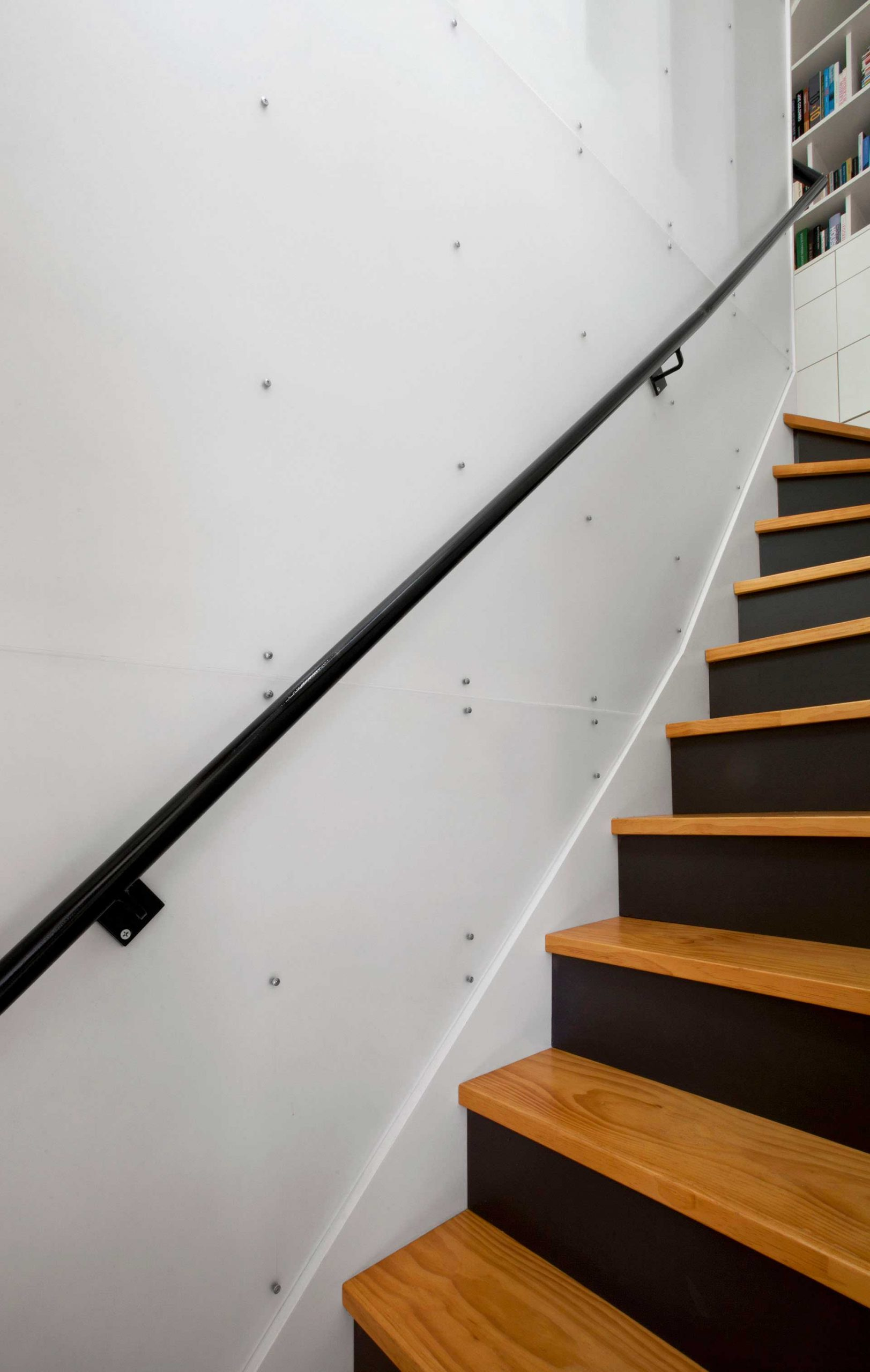 Carriage House Stair to Studio - LUMAsite acrylic, steel handrail, Pine treads - winder stair - Classic Irvington Tudor Remodel - Indianapolis, IN