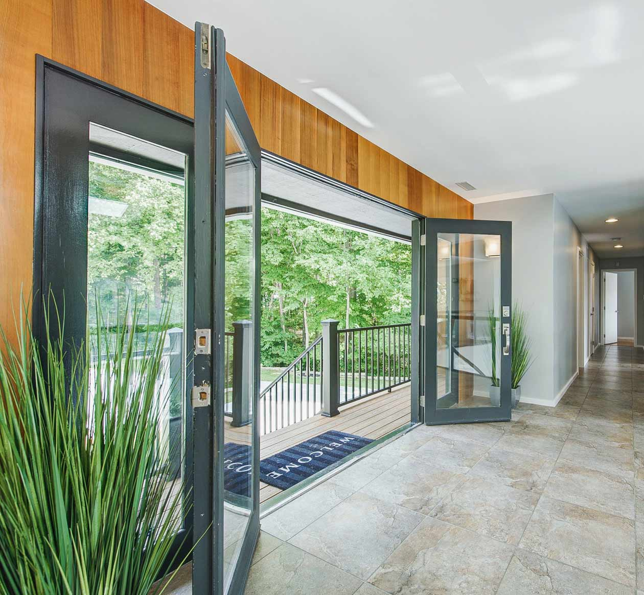 Entry Refresh incorporates Cedar-lined entry wall - Reef Court - Geist Reservoir - Indianapolis, IN - Photo by Structured Photography