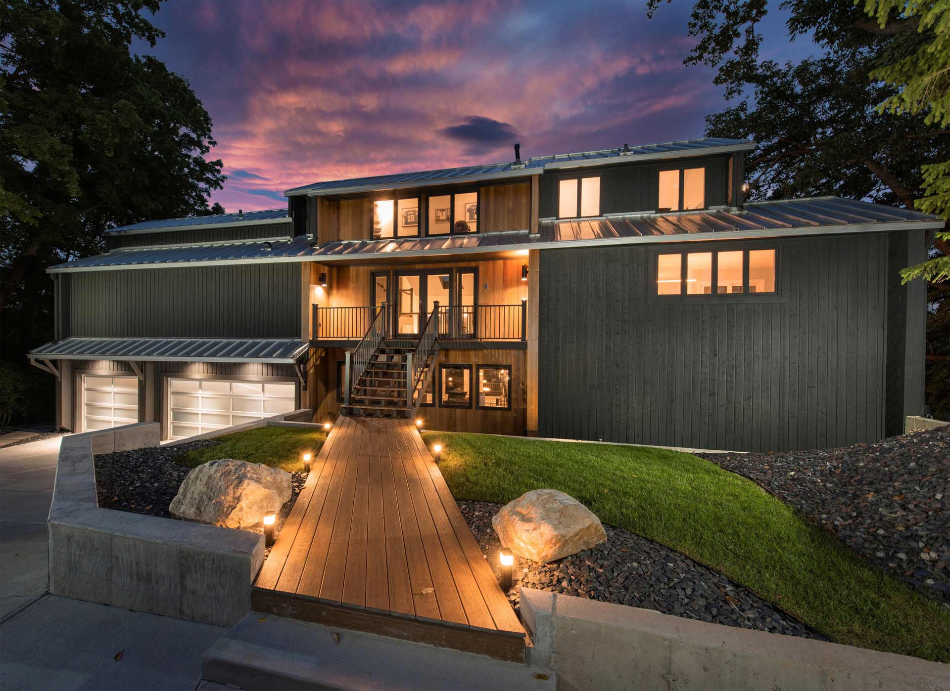 Front Entry Elevation Dusk - Reef Court - Geist Reservoir - Indianapolis, IN - Photo by Structured Photography