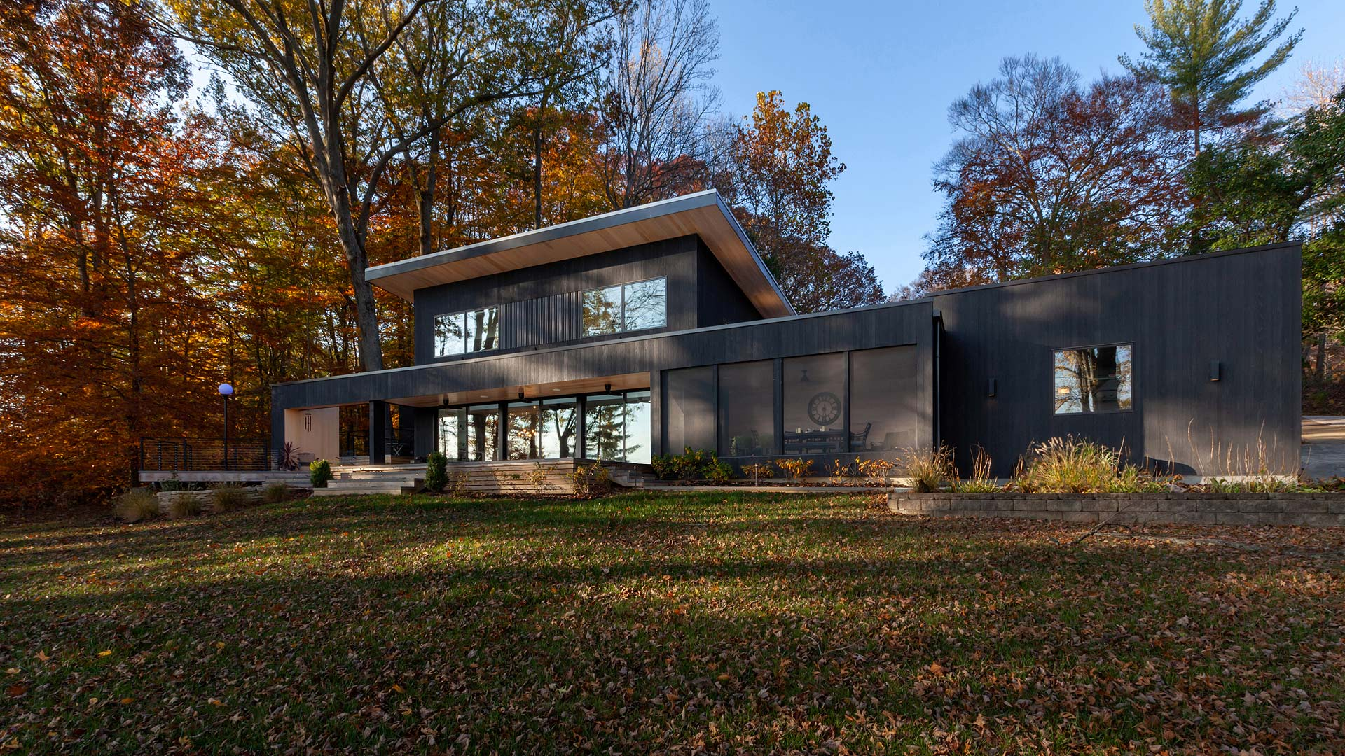 Lakeside Elevation - Lakeside Modern Cottage (H-LODGE) - Unionville, Indiana, Lake Lemon