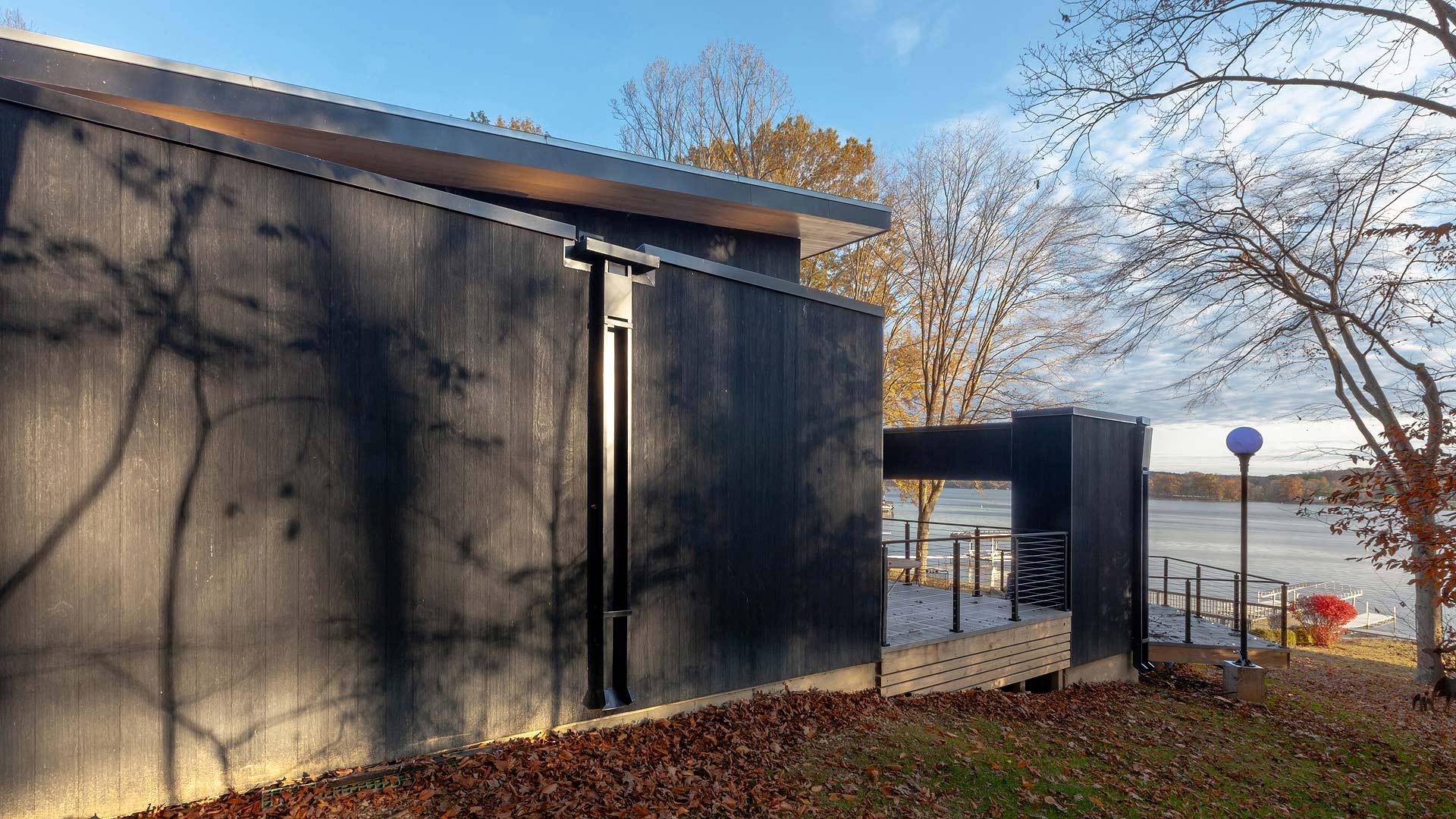 West Woods Elevation - Lakeside Modern Cottage (H-LODGE) - Unionville, Indiana, Lake Lemon