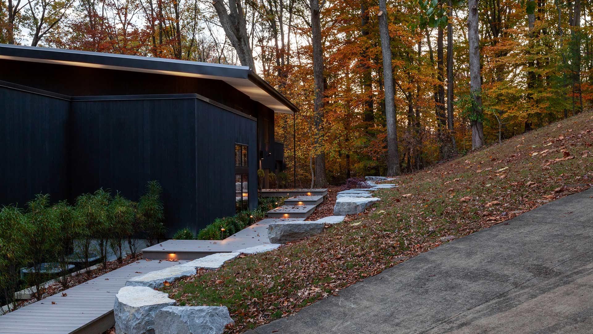 Front Entry Garden Elevation - Lakeside Modern Cottage (H-LODGE) - Unionville, Indiana, Lake Lemon