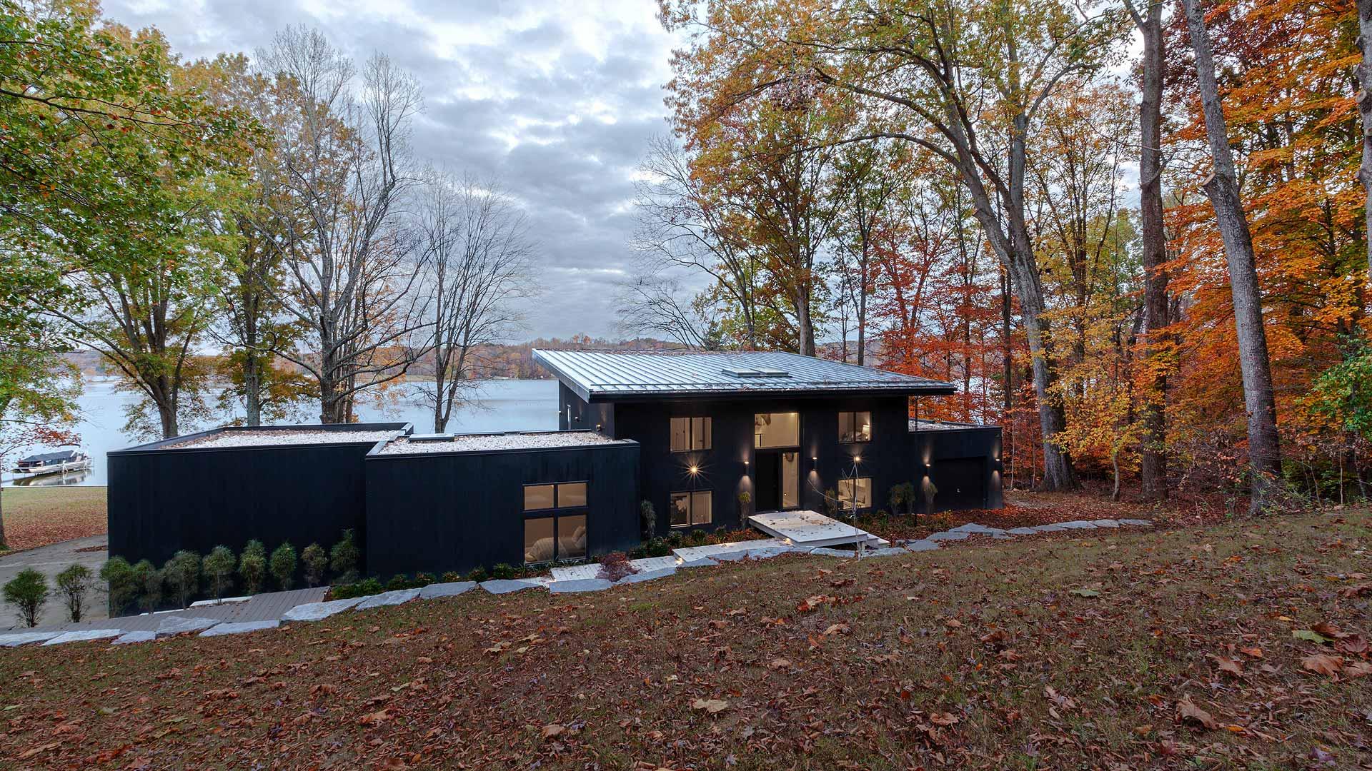 Front Entry Elevation - Lakeside Modern Cottage (H-LODGE) - Unionville, Indiana, Lake Lemon