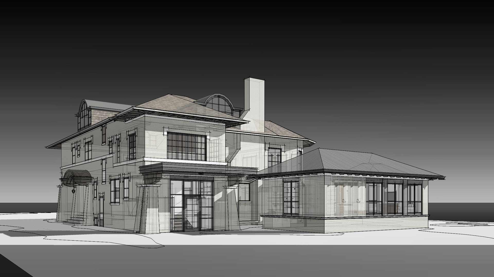 Aging-in-Place - Rear Elevation-Rendering - Eclectic Italian Renaissance Addition, Washington Boulevard, Indianapolis